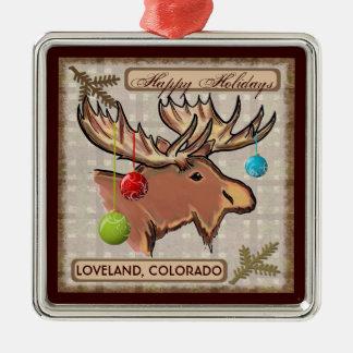 Ornamento del navidad de los alces del arte de Lov Ornamento Para Arbol De Navidad
