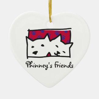 Ornamento del navidad de los amigos de Phinney Adorno Navideño De Cerámica En Forma De Corazón