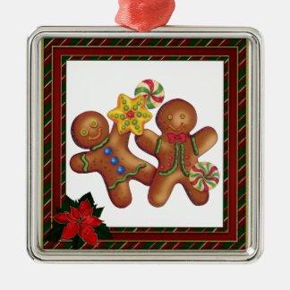 Ornamento del navidad de los amigos del pan de adorno navideño cuadrado de metal