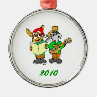 ornamento del navidad de los carrolers del conejo adorno navideño redondo de metal