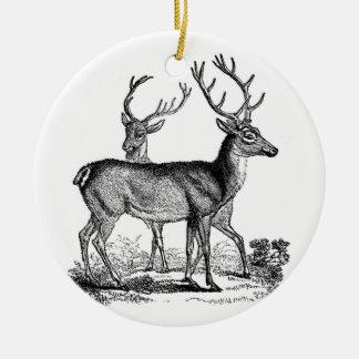 Ornamento del navidad de los ciervos de la adorno navideño redondo de cerámica
