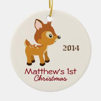 Ornamento del navidad de los ciervos del bebé adorno navideño redondo de cerámica