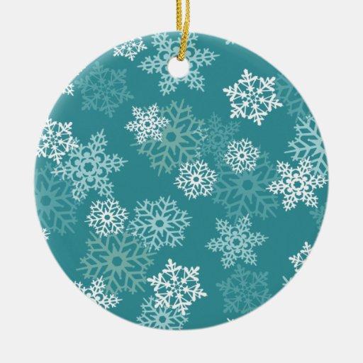 Ornamento del navidad de los copos de nieve del adorno redondo de cerámica