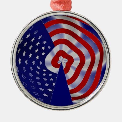 Ornamento del navidad de los E.E.U.U. Adorno Redondo Plateado