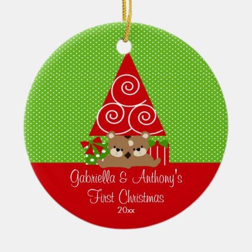 Ornamento del navidad de los gemelos del bebé del adorno navideño redondo de cerámica