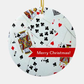 Ornamento del navidad de los naipes adorno navideño redondo de cerámica