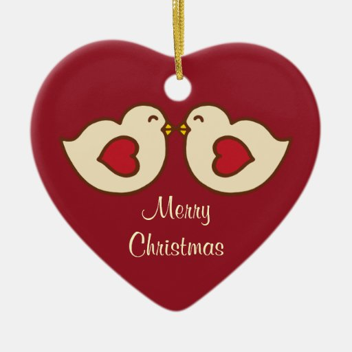 Ornamento del navidad de los pájaros del amor adorno de navidad