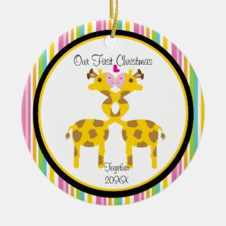 Ornamento del navidad de los pares de la jirafa de adornos de navidad