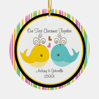 Ornamento del navidad de los pares de las ballenas ornamento de navidad