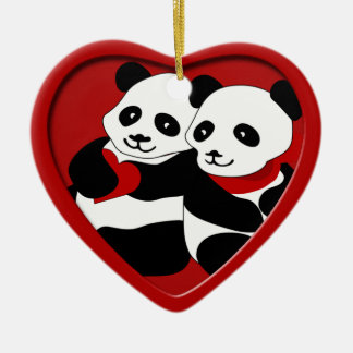 Ornamento del navidad de los pares del amor de la adorno navideño de cerámica en forma de corazón