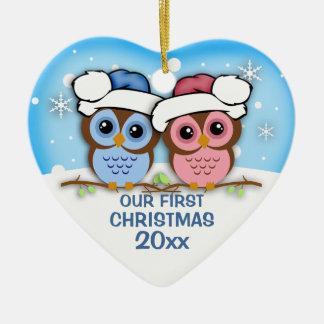 Ornamento del navidad de los pares del búho de adorno navideño de cerámica en forma de corazón