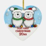 Ornamento del navidad de los pares del oso polar ornamentos de navidad