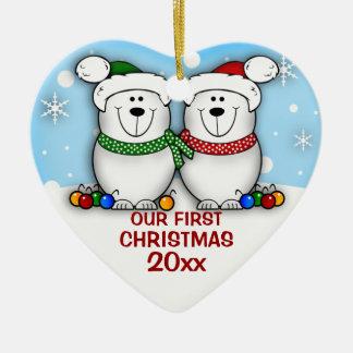 Ornamento del navidad de los pares del oso polar p ornamentos de navidad