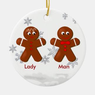 Ornamento del navidad de los pares del pan de adorno navideño redondo de cerámica