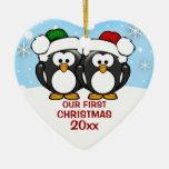 Ornamento del navidad de los pares del pingüino ornaments para arbol de navidad