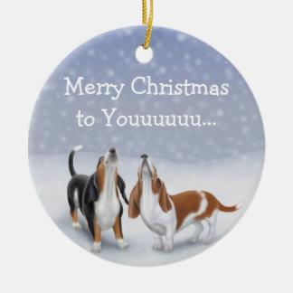 Ornamento del navidad de los perros de adorno navideño redondo de cerámica