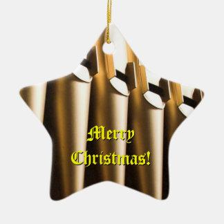 Ornamento del navidad de los tubos de órgano adorno navideño de cerámica en forma de estrella