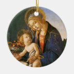 Ornamento del navidad de Madonna del Libro Adorno Navideño Redondo De Cerámica