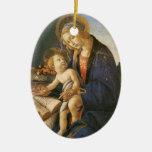 Ornamento del navidad de Madonna del Libro Adorno Ovalado De Cerámica