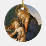 Ornamento del navidad de Madonna del Libro Adorno Redondo De Cerámica