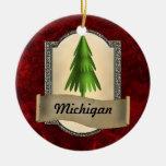 Ornamento del navidad de Michigan Adorno Navideño Redondo De Cerámica