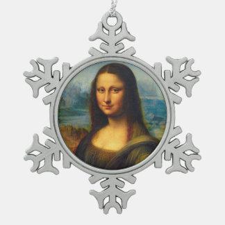 Ornamento del navidad de Mona Lisa Adorno De Peltre En Forma De Copo De Nieve
