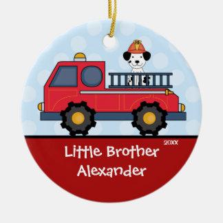 Ornamento del navidad de pequeño Brother del Adorno Redondo De Cerámica