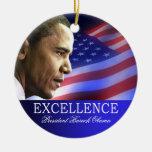 Ornamento del navidad de presidente Barack Obama Adorno Navideño Redondo De Cerámica