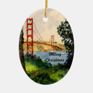 Ornamento del navidad de puente Golden Gate Adorno Navideño Ovalado De Cerámica