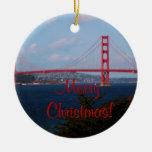 Ornamento del navidad de puente Golden Gate Adorno Navideño Redondo De Cerámica