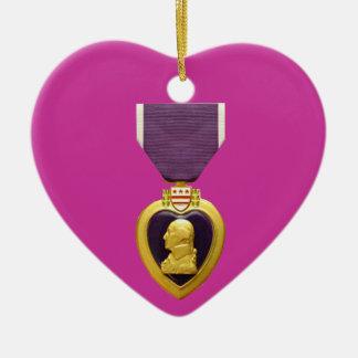 Ornamento del navidad de Purple Heart Adorno Navideño De Cerámica En Forma De Corazón