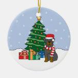 Ornamento del navidad de Rottweiler Adorno Navideño Redondo De Cerámica