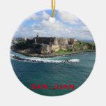 Ornamento del navidad de San Juan Puerto Rico Adorno Navideño Redondo De Cerámica
