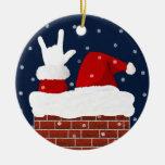 Ornamento del navidad de Santa con te amo adentro Adorno Navideño Redondo De Cerámica