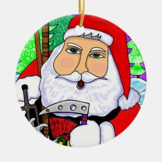 Ornamento del navidad de Santa del karate Adorno Navideño Redondo De Cerámica