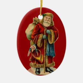 Ornamento del navidad de Santa del Victorian del Adorno Ovalado De Cerámica
