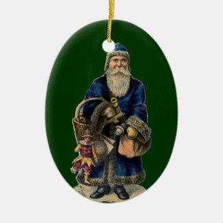Ornamento del navidad de Santa del Viejo Mundo Adorno Navideño Ovalado De Cerámica