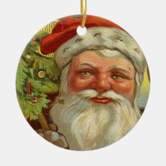 Ornamento del navidad de Santa del vintage Adorno Redondo De Cerámica