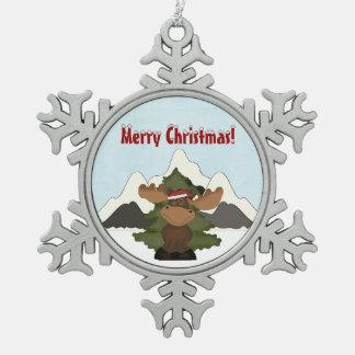 Ornamento del navidad de Snoflake de la montaña de