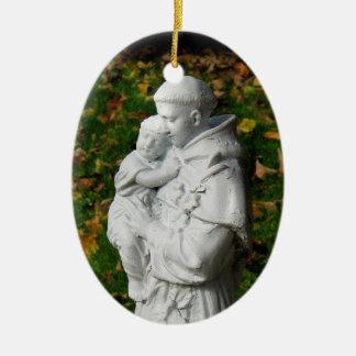 Ornamento del navidad de St Anthony Adorno Ovalado De Cerámica