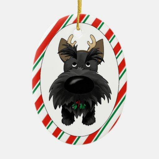 Ornamento del navidad de Terrier del escocés Adorno Navideño Ovalado De Cerámica