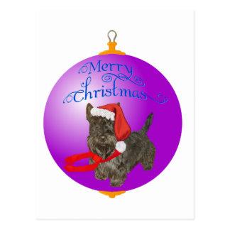 Ornamento del navidad de Terrier del escocés Tarjetas Postales