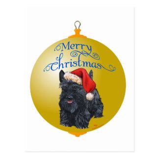 Ornamento del navidad de Terrier del escocés Tarjeta Postal