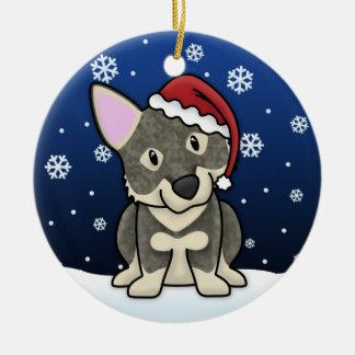 Ornamento del navidad de Vallhund del sueco del Adorno Navideño Redondo De Cerámica