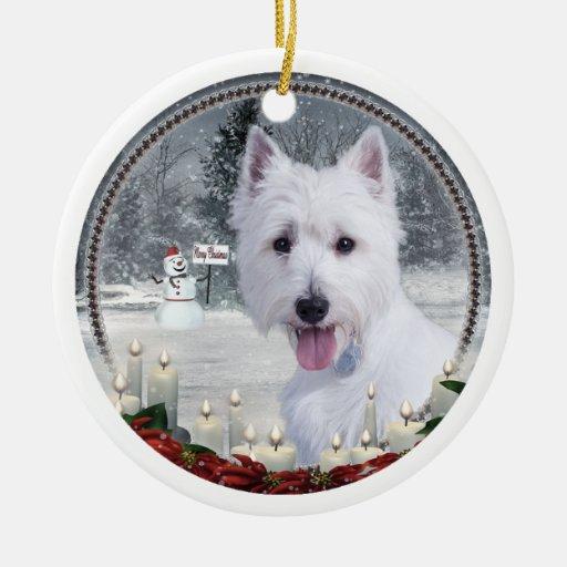 Ornamento del navidad de Westie Adorno Navideño Redondo De Cerámica