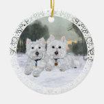 Ornamento del navidad de Westies Adorno Navideño Redondo De Cerámica