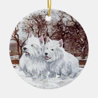 Ornamento del navidad de Westies Ornamentos De Navidad