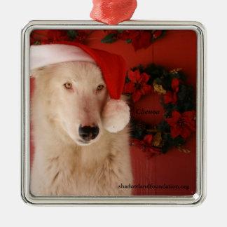 Ornamento del navidad de White Wolf Adorno Navideño Cuadrado De Metal