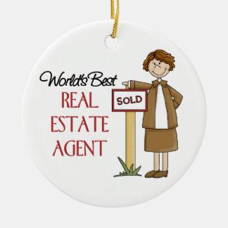 Ornamento del navidad del agente inmobiliario adorno redondo de cerámica