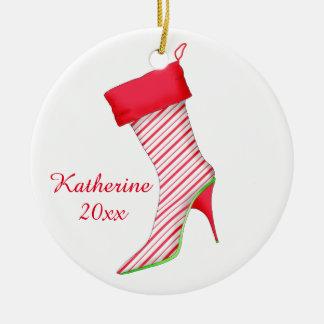 Ornamento del navidad del amante del zapato de la adorno navideño redondo de cerámica